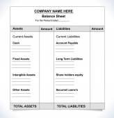 Balance sheet format unfill paper balance invoice form - vector eps10