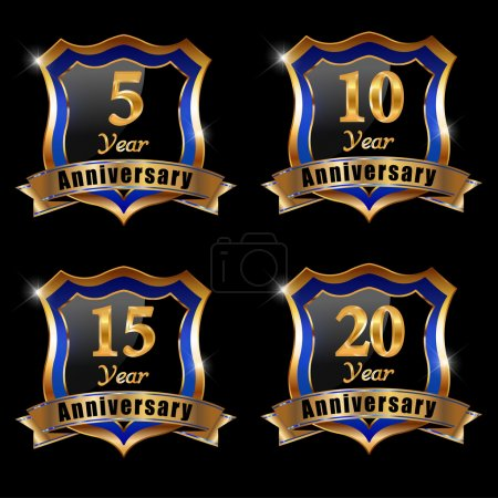 Illustration for Vector set of anniversary elements, 5, 10, 15 , 20, year anniversary badge - eps 10 - Royalty Free Image
