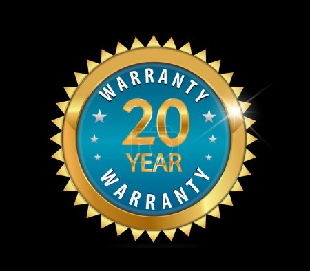 golden blue metallic year,  year warranty badge - vector eps10