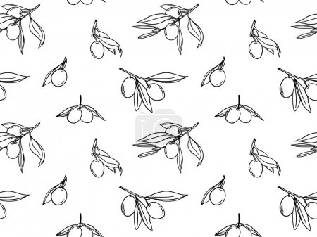 Illustration for Seamless pattern with olive branches. Modern vector background for paper, cover, fabric, interior decor and other users. - Royalty Free Image