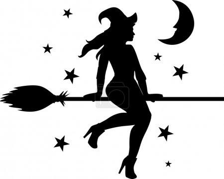 Illustration pour Sorcière volante sur fond de lune et d'étoiles - image libre de droit