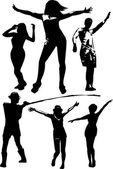 Vector set of black silhouettes of a girl and a young man in various poses in motion the dance in full growth on a white background in vector format