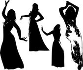 Vector set of black silhouettes of girls in dress in dance in movement Women in elegant poses on white background in vector format