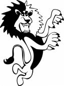 Harsh and angry hand-drawn black and white lion full length standing on its hind legs in the vector