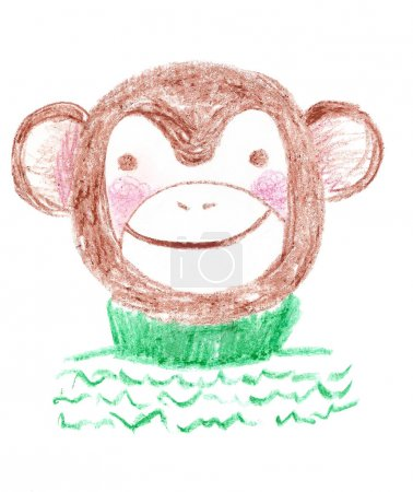 Photo pour Mignon brune main dessiné singe souriant et rougissant port confortable pull vert créé avec des crayons pastels. Le symbole de l'an 2016. Singe de style dessin animé de gamin. Croquis enfantin d'un singe. - image libre de droit