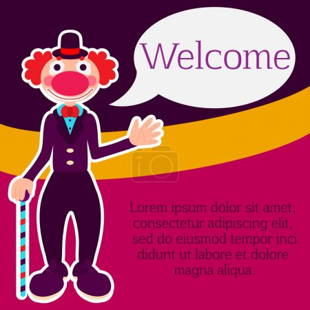 Illustration for Poster, flyer or greeting card template with kindly smiling clown with red hair in violet costume and hat holding a walking stick and saluting with his hand with text space and speech balloon - Royalty Free Image