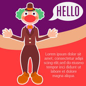 Poster flyer or greeting card template with kindly smiling clown with green hair in brown costume and hat waving his hands with text space and speech balloon