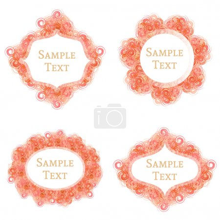 Set of bright orange spiral element frames of 4 different shapes with text space.