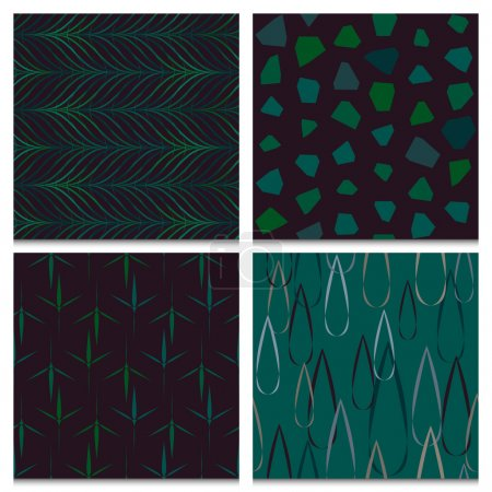 Illustration for Rainy autumn forest mood, set of four beautifully composed dark green and brown seamless patterns with nature objects: raindrops, rocks, leaves, twigs. Dark retro color scheme. - Royalty Free Image
