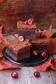 brownie slices with cranberries, food closeup