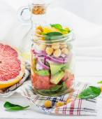 Delicious salad put into a jar for easy transport