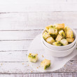 Crunchy homemade croutons with herbs and butter to...