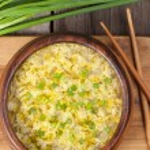 Appetizer traditional vegetarian asian drop egg so...