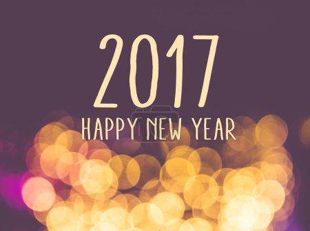 Photo pour 2017 bonne année sur fond clair de bokeh festive flou vintage . - image libre de droit