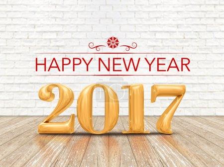 Photo pour Bonne année 2017 (rendu 3d) numéro de couleur or sur plancher de planche de bois et mur de briques blanches, carte de vœux de vacances . - image libre de droit