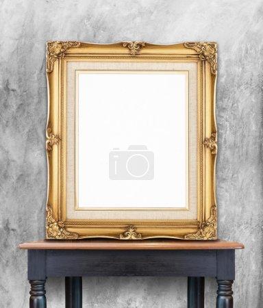 Blank vintage golden photo frame