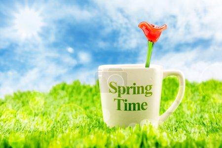 weiße Kaffeetasse mit Frühling
