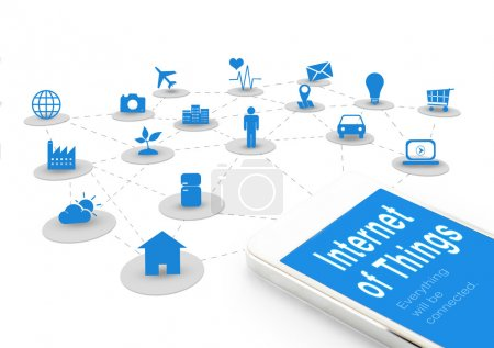 Photo for Smart phone with Internet of things (IoT) word and objects icon connecting together,Internet networking concept. - Royalty Free Image
