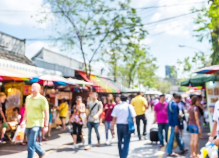 Photo for Blurred background : people shopping at market fair in sunny day, blur background with bokeh. - Royalty Free Image