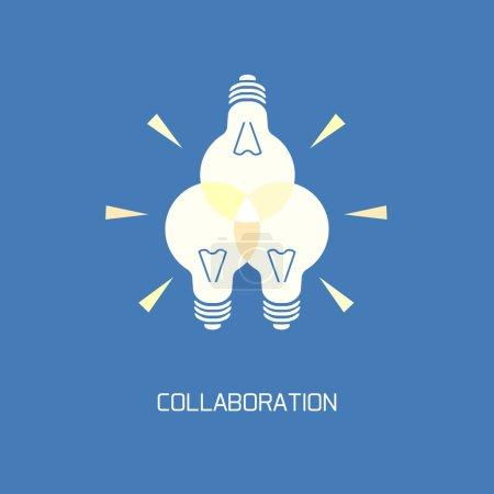 Illustration pour Collaboration. Symbole abstrait remue-méninges, élément innovation créative - image libre de droit