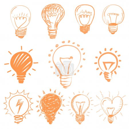 Illustration for Set of cartoon light bulbs. Symbol ideas. - Royalty Free Image