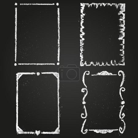 Illustration pour Ensemble de cadres peints à la craie sur un tableau noir - image libre de droit