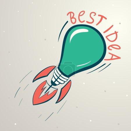 Abstract vector colorful illustration of lightbulb. Idea symbol.