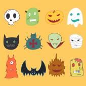 Set of cartoon monster heads Halloween