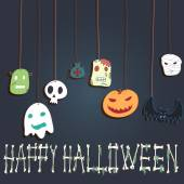 Halloween card Monsters heads