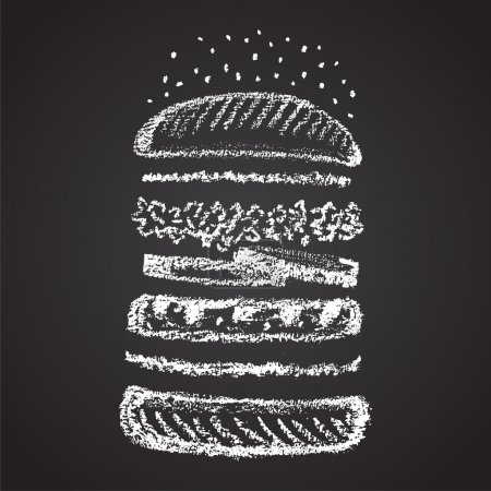 Chalk painted components of burger