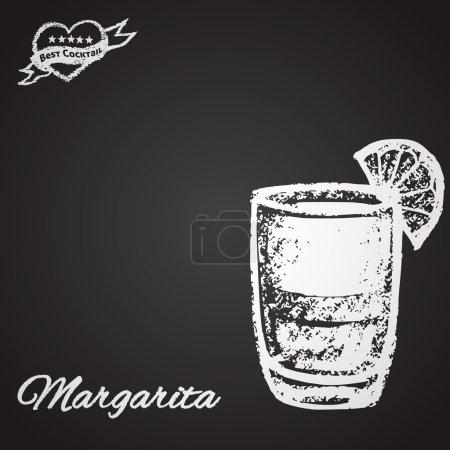 Illustration pour Craie peinte Illustration de cocktail Margarita. Meilleur thème cocktail . - image libre de droit