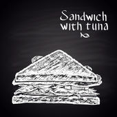 Chalk drawn illustration of sandwich with tuna with text No meat!