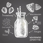 Chalk drawn illustration of watermelon smoothie in a bottle with ingredients Sugar free!