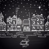 Christmas winter houses and snow