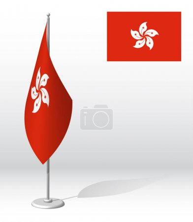 Illustration for Hong kong flag on flagpole for registration of solemn event, meeting foreign guests. National independence day of Hong kong. Realistic 3D vector on white - Royalty Free Image