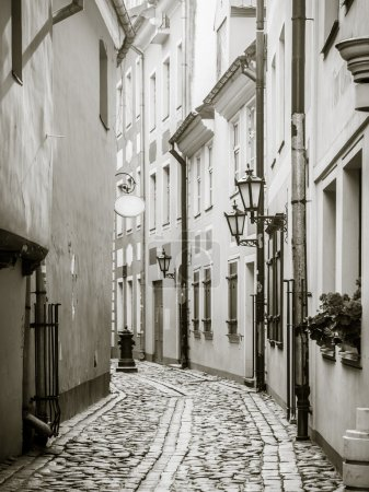 Streets in the Old Town of Riga, Latvia.