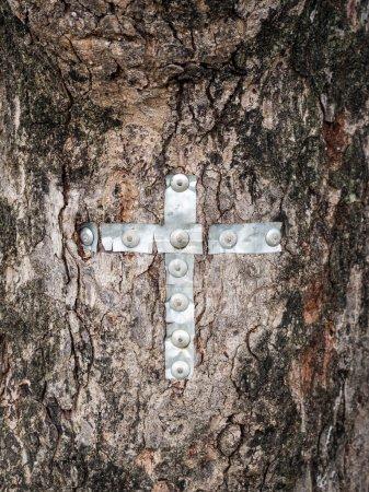 Christian cross on a tree in a Maasai village