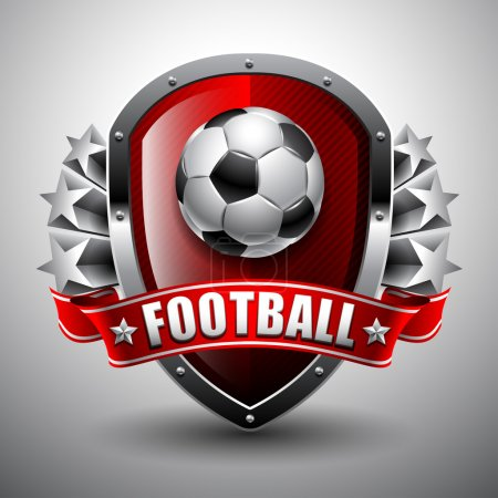 Illustration for Soccer ball on background of the shield and stars - Royalty Free Image