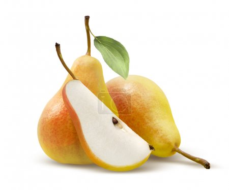 Two yellow pears and quarter split isolated on whi...