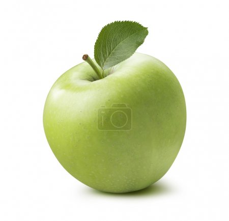 Single whole green apple 2 isolated on white background
