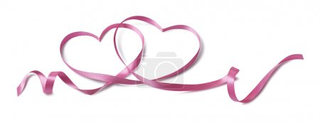 Valentine pink 2 hearts ribbon design element isolated