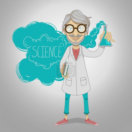 Scientist with chemical glass