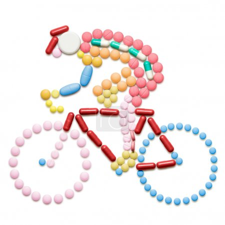 Doping drugs and pills in the shape of a road bicy...