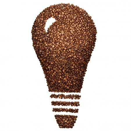 Idea for coffee break. Creative still life of a light bulb made of roasted coffee beans, isolated on white.