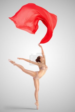 Dancing with red fabric.