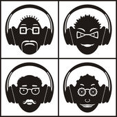 Musical emotions Conceptual icon set of funny emoticons with headphones;