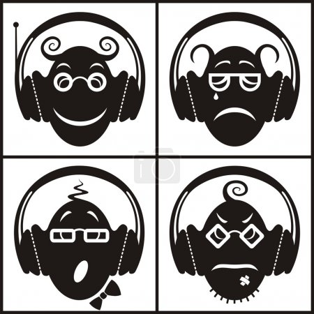Musical emotions. Conceptual icon set of funny emoticons with headphones;