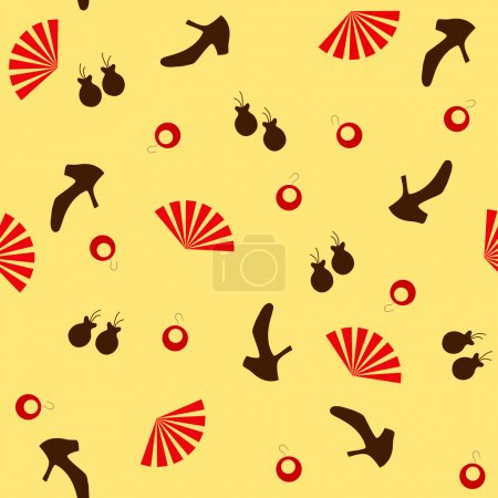 Seamless flamenco pattern with accessories