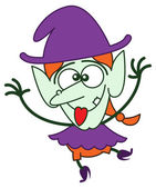 Cool green witch in minimalist style with long red hair and big nose wearing a huge purple hat while smiling sticking her tongue out and showing a funny face