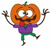 Orange pumpkin sticking his tongue out